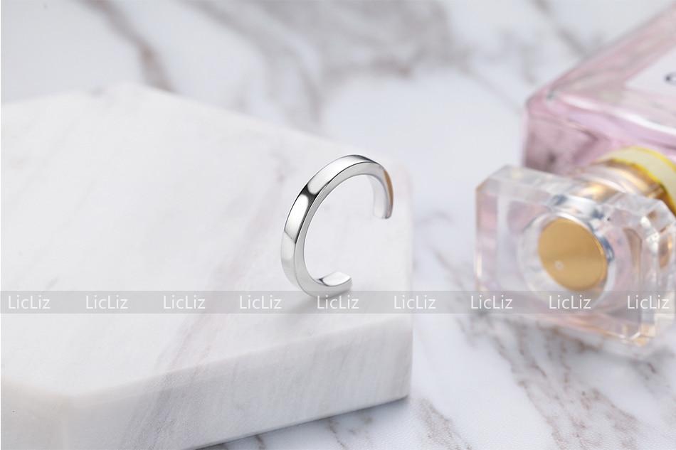 H7771e666354b4497a61ad2bf34902fe8D LicLiz 2019 925 Sterling Silver Big Open Adjustable Ring for Women Men Plain White Gold Jewelry Joyas de Plata 925 Bijoux LR0329