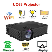 Home Theatre Projector Unic Uc68 UC46 Mini 1080p HD 1800 Support Multimedia Airplay LED
