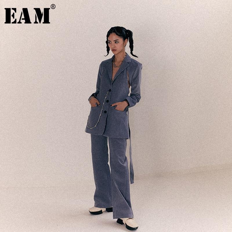 [EAM] Высокая талия Флокирование черно зеленые длинные широкие брюки новые свободные брюки женские модные весенне осенние 2019 1B912