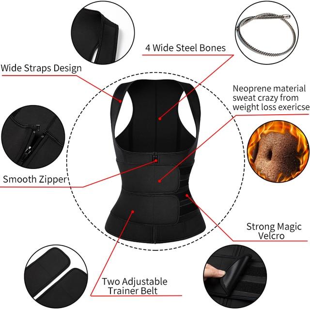Women Neoprene Sweat Sauna Vest Waist Trainer Corset Fitness Weight Loss Slimming Body Shaper with Adjustable Waist Trimmer Belt 2