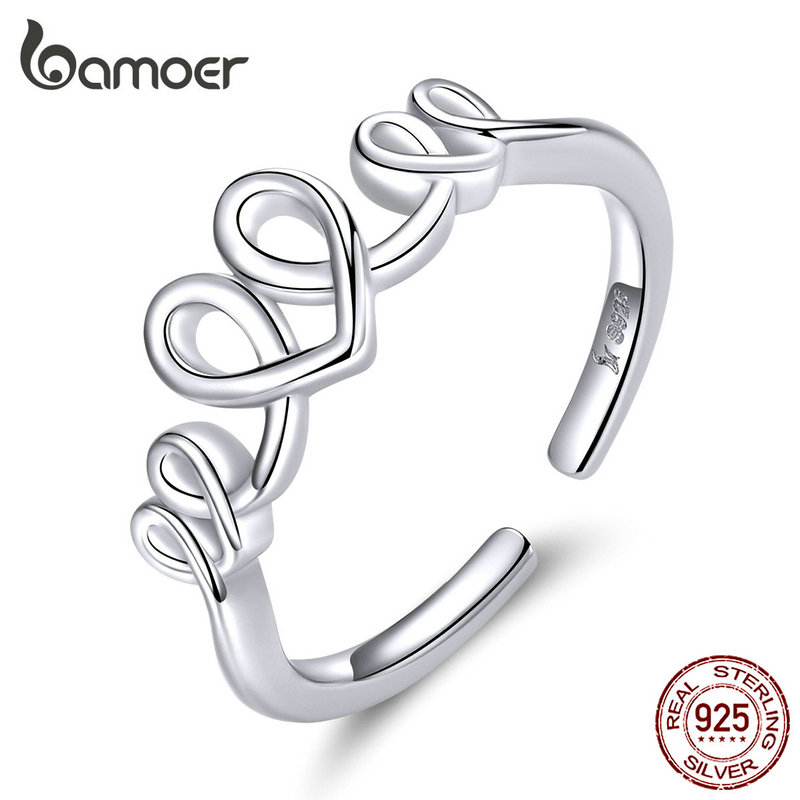 Bamoer Heart Love Open Finger Rings For Women Genuine 925 Sterling Silver Adjustable Finger Rings Fine Wedding Jewelry SCR588