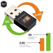 MINI Adapter USB WiFi 5G/2.4G Wi Fi Dongle 5Ghz 2.4GHz dwuzakresowy AC 600Mbps Wi-Fi antena odbiornik sygnału bezprzewodowa karta sieciowa