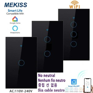 WIFI smart touch switch supports APP smart life remote control US standard 1 \ 2 \ 3gang single fire wire control light switch