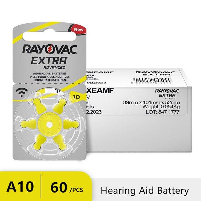 60 pcs 아연 공기 rayovac 추가 성능 보청기 a10 10a 10 pr70 보청기 배터리 a10 무료 배송