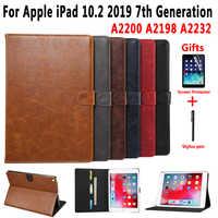 Premium Leder Fall für Apple iPad 10,2 2019 7 7th Generation A2197 A2200 A2198 A2232 Abdeckung Smart Fall für iPad 10,2 + Film + Stift