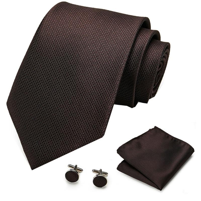 2020 New Arrival 100%Silk Ties For 8CM Brown Color Men's Neckties For Business Wedding Suit Neck Tie Gravatas