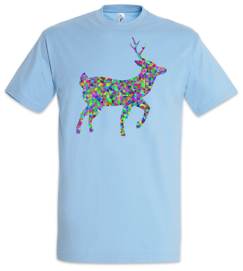 Colored Deer T-Shirt Toon Cartoon Comic Look Rave Techno Dance Party Rainbow