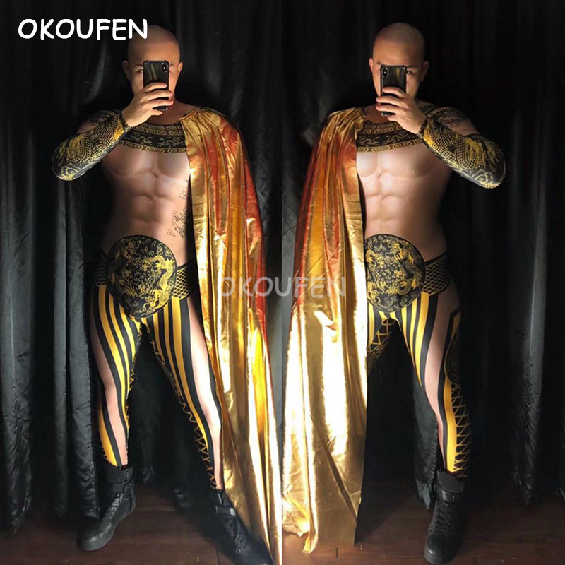 Chinese Style 3D Fake Muscle Golden Print Tattoo Jumpsuits Costume Nightclub Male Singer Ds Stage Costumes
