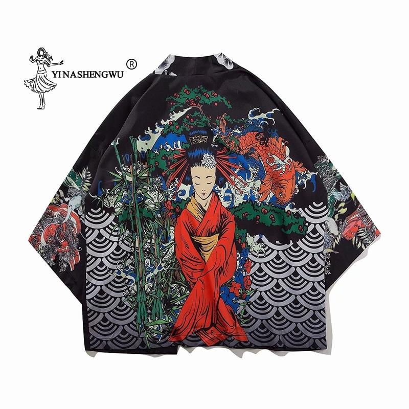 Japanese Kimono Traditional Yukata Women Harajuku Carp Print Kimono Cardigan Femme Shirt  Kimono Cosplay Costume Asian Clothes