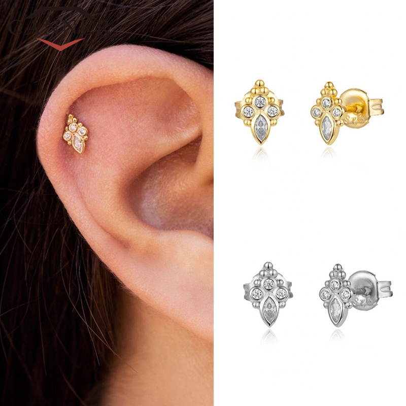 Minimalist Gold Silver color Geometric Triangle/Round/Star Stud Earrings 925 Sterling Silver Earrings for Women Fashion Jewelry