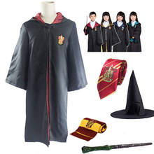 Potter Cosplay Robe Cape Cloak With Tie Scarf Wand Glasses Ravenclaw Gryffindor Hufflepuff Slytherin Costume Adult