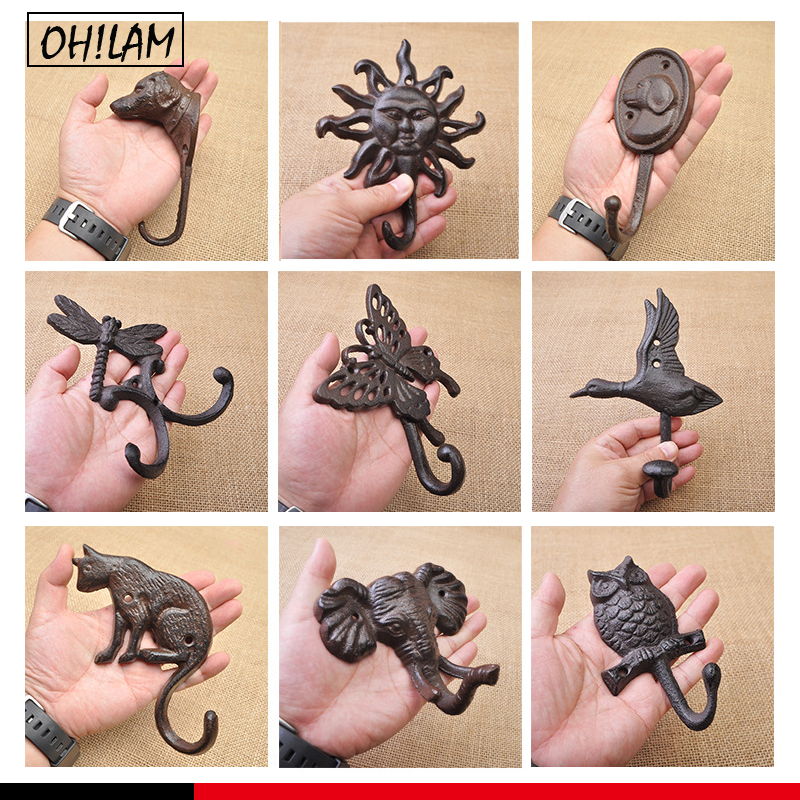 Vintage Rustic Cast Iron Nautical Anchor Design Key Coat Hooks Rack Decorative Wall Mounted Antique Shabby Chic Metal Wall Hooks
