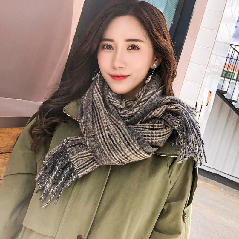 2019 WOMEN'S Scarf Autumn & Winter New Style Tassels Shawl Scarf Korean-style Large Grid Solid Color Faux Cashmere Scarf