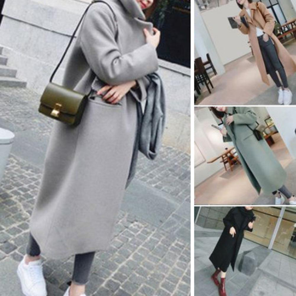 2020 Fashion Solid Color Thick Pocket Women Autumn Winter Warm Long Coat Outwear Hot