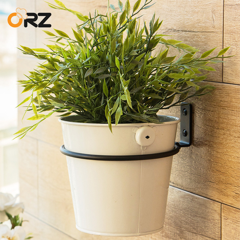 ORZ 15cm Wall Folding Flower Pot Trays Metal Pot Ring Holder Flower Planter Tray Stand Bracket Balcony