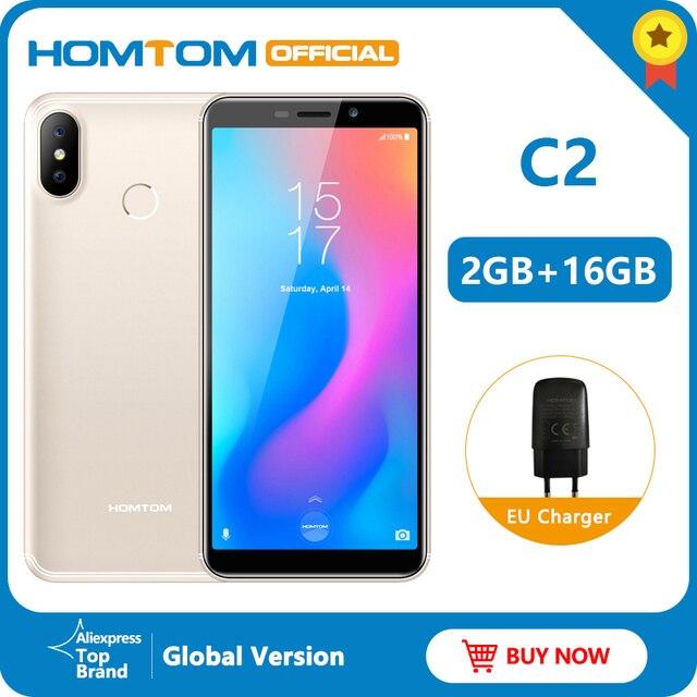 الإصدار الأصلي HOMTOM C2 أندرويد 8.1 2 + 16GB الهاتف المحمول معرف الوجه MTK6739 رباعية النواة 13MP كاميرا مزدوجة OTA 4G FDD LTE الهاتف الذكي