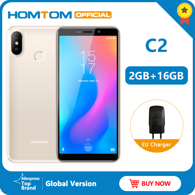 Original version HOMTOM C2 Android 8.1 2+16GB Mobile Phone Face ID MTK6739 Quad Core 13MP Dual Camera OTA 4G FDD-LTE Smartphone