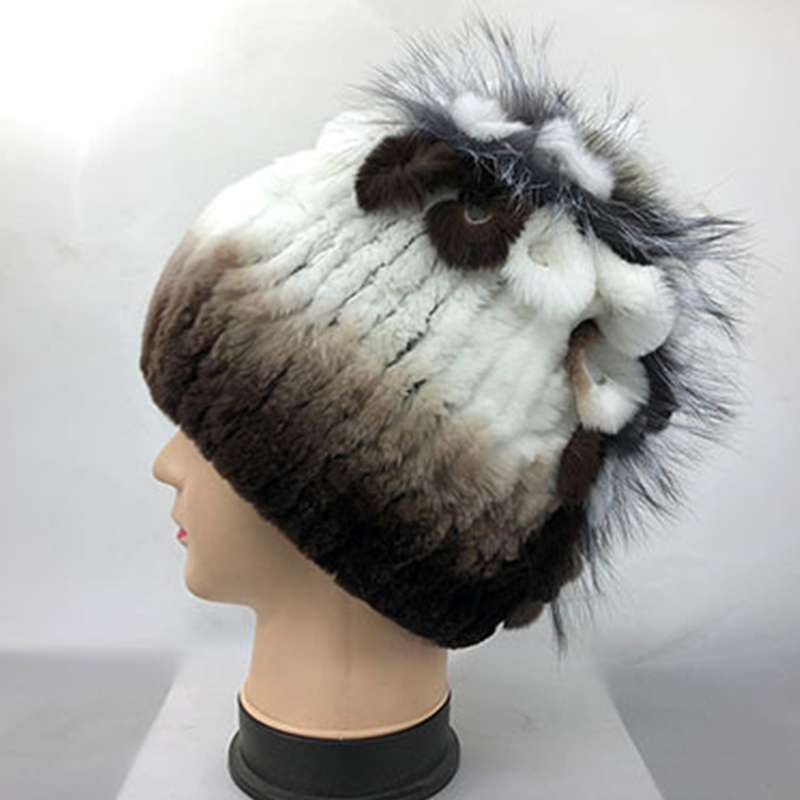 18 Colors Sector Decoration Warm Hand Sewing Real Rabbit Fur Hats Fluffy Comfortable Women Winter Kniting Caps