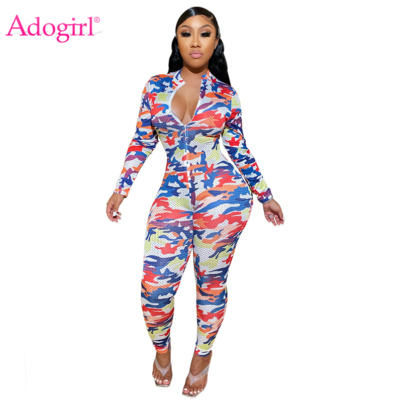 Adogirl Camo Print Hollow Out Mesh Casual Jumpsuit Zipper Long Sleeve Women Fashion Sexy Skinny Romper Tracksuit Bandage Overall