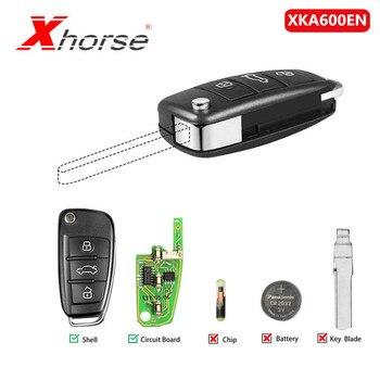 [Великобритания КОРАБЛЬ] Xhorse Универсальный XKA600EN проводной дистанционный ключ 3 кнопки для Audi A6L Q7 Тип дистанционного ключа оболочки чип для ...