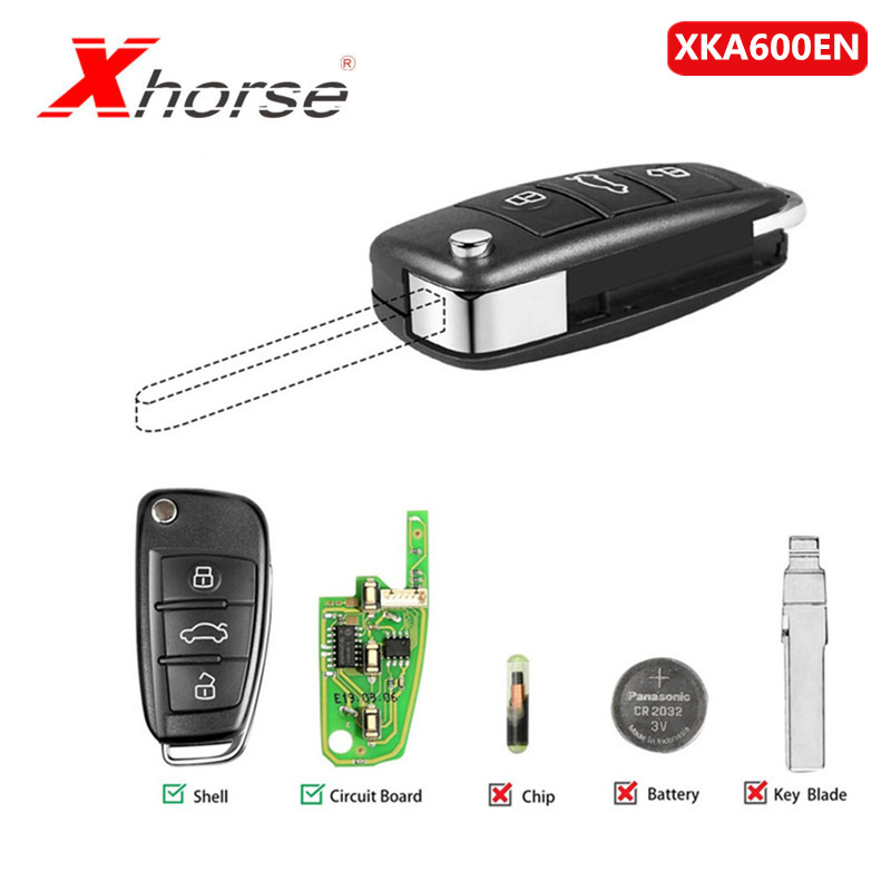 Xhorse Universal XKA600EN Wire Remote Key 3 Buttons For Audi A6L Q7 Type Remote Key Shell Chip For VVDI2 1 Piece
