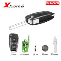 Xhorse Universal XKA600EN Wire Remote Key 3 Buttons For Audi A6L Q7 Type Remote Key Shell Chip For VVDI2 1 Piece| |   -