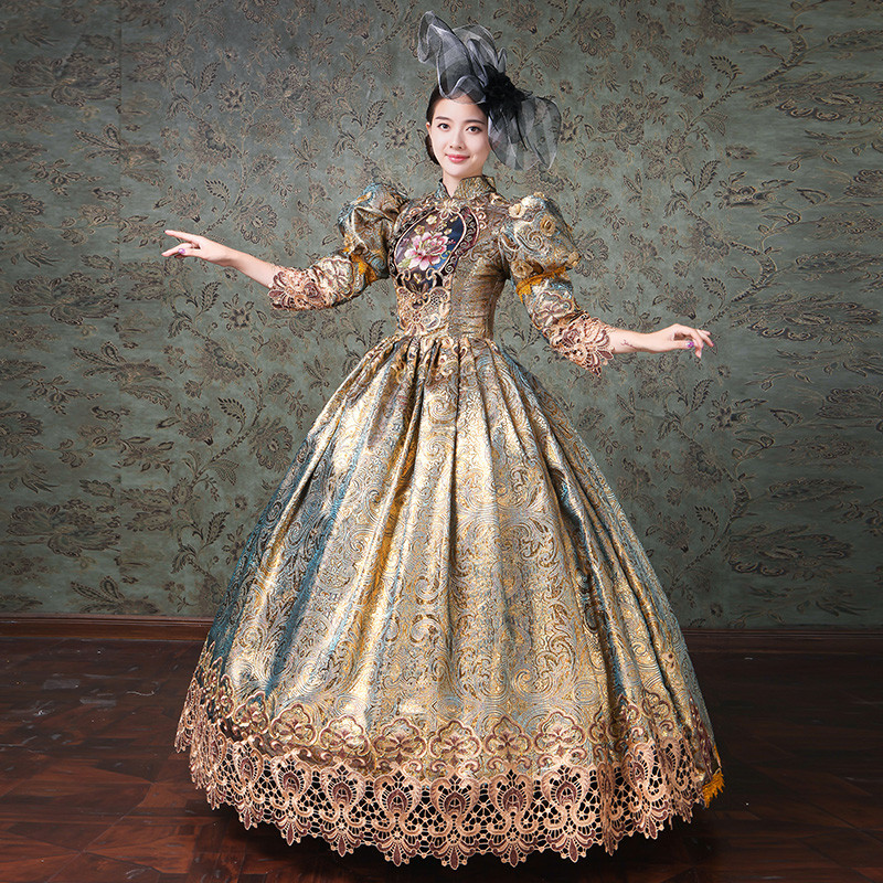 Elegant Women Court Dresses Medieval Renaissance European Noble Embroidery Flower Prom Champagne Formal Party Royal Dress Gown