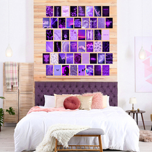 50Pcs Purple Aesthetic Picture for Wall Collage Sets Neon Collage Print Kits Warm Color Bedroom Room Wall Decorations for Girls