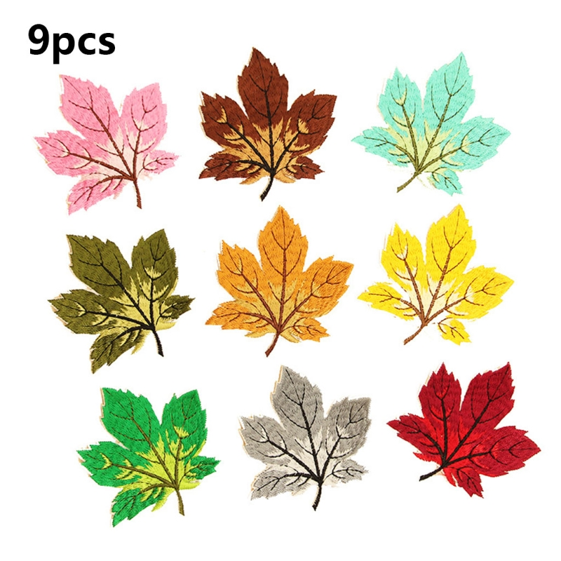 9Pcs Multicolor Maple Leaf Sew/Iron On Appliques Embroidery Patches DIY Badge F3MD