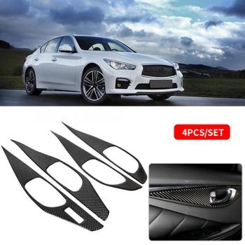 4pcs Carbon Fiber Car Inner Door Handle Bowl Cover Trim  Sticker For Infiniti Q50 Q50L 2013 2014 2015 2016 2017 2018 Car Styling