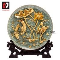 24k gold antique decorative lacquer line carving plates 10 inch carp lotus ge kiln porcelain plate handicraft decoration gifts