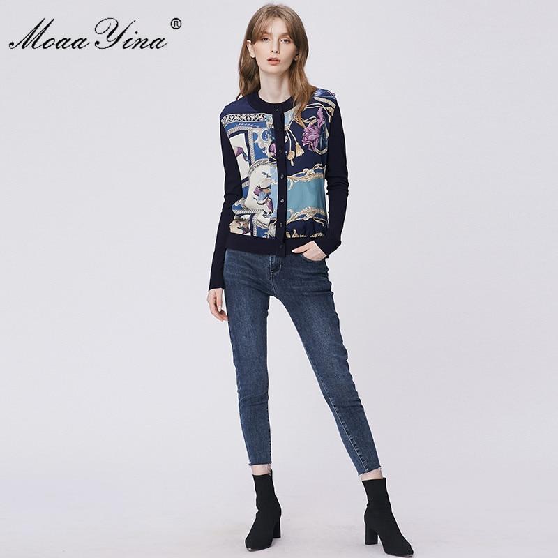 Image 5 - MoaaYina Spring Fashion Long sleeve Knitting Tops Womens Elegant Print Cardigans Silk Wool SweaterCardigans