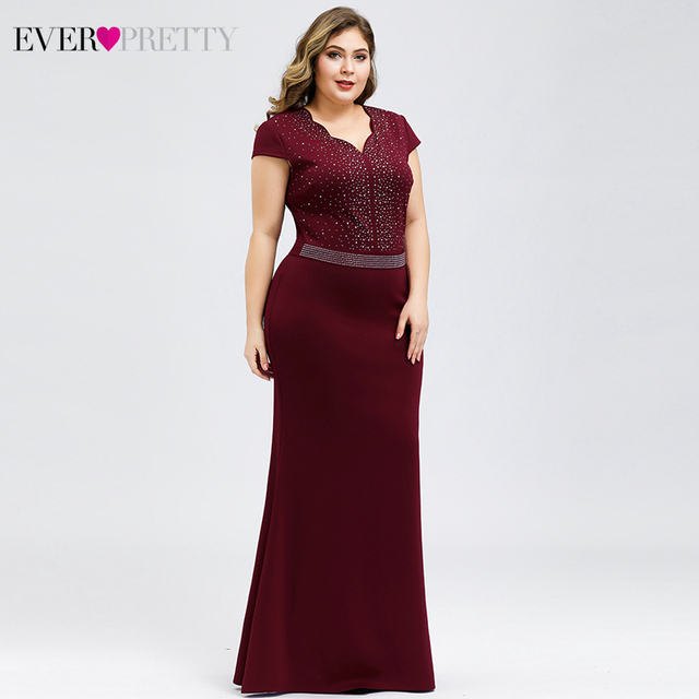 Plus Size Burgundy Evening Dresses For Women Ever Pretty EP07623BD Mermaid V-Neck Beaded Elegant Party Gowns Vestido Comprido 3
