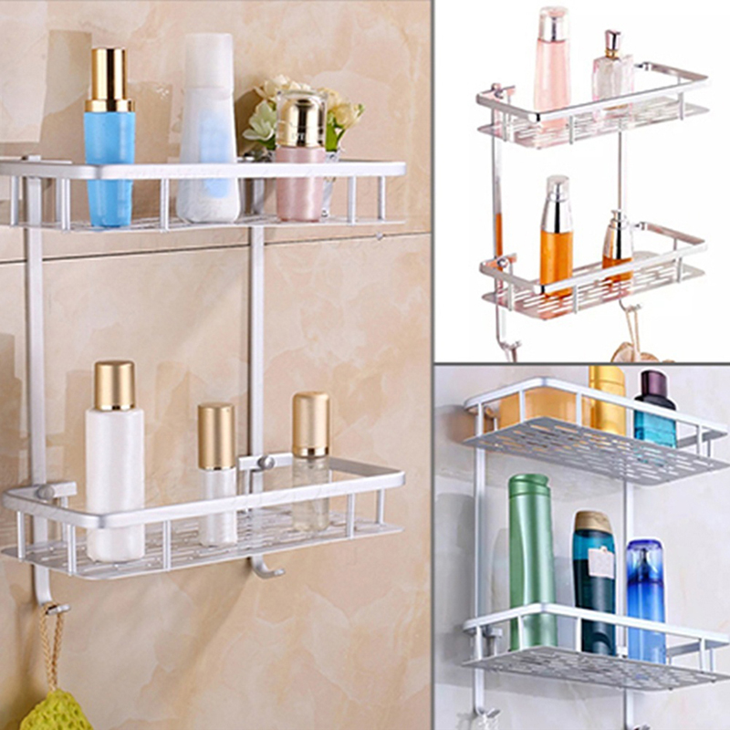 Aluminium Material Bathroom Shower Bath Holder For Shampoos Shower Gel Kitchen Home Shelf Hanging Storage Rack image