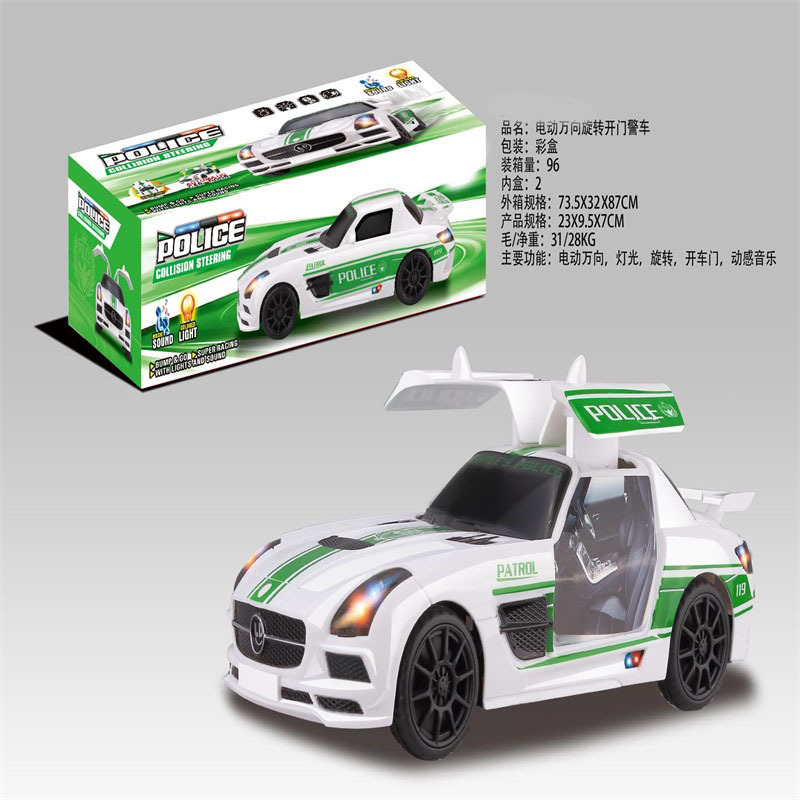 New Style Children Model Door Opening Police Car Universal Electric Car Toy Rotating Car Model Hot Selling Stall Supply Of Goods