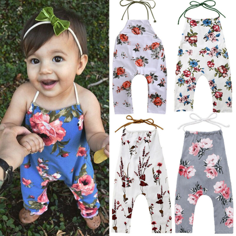 Toddler Kids Baby Girls Flower Romper Jumpsuit  Outfits Backless Clothes