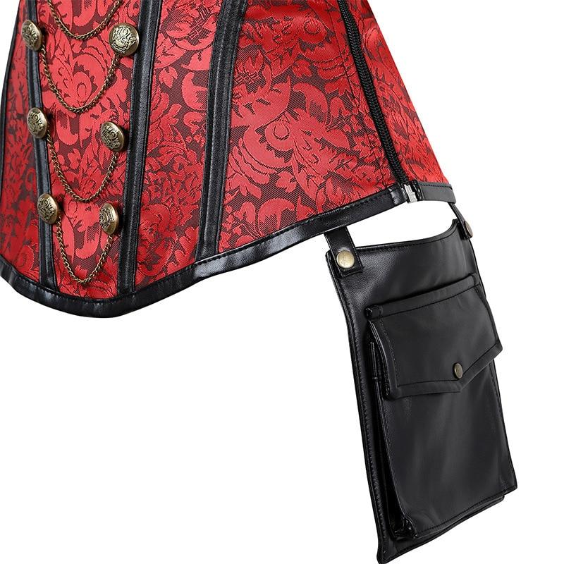 Black Red Corsets Steampunk Women Sexy Goth Clothing Steel Bones Overbust Gothic Retro Korse Femme Punk Corset Set (8)
