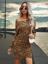 Женское платье olomm осень 2020 модное сексуальное с леопардовым
