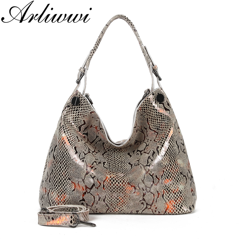 Arliwwi Female Genuine Leather Shoulder Bags New Serpentine Pattern Embossed Shiny Cross Body Real Cow Leather Handbags Women