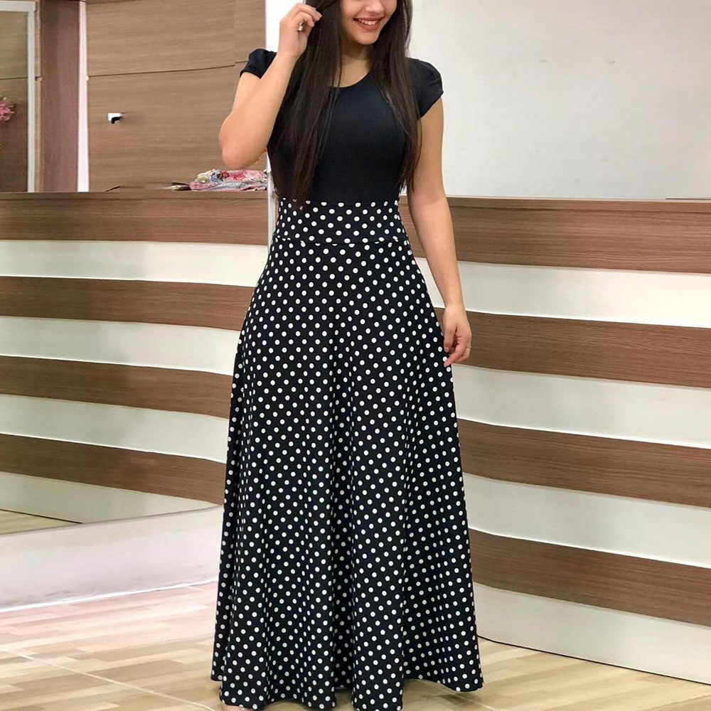 Casual Dress Summer Dress Womens Summer Loose Fitting Polka dots Patchwork Contrast Color Cotton Overalls Dress With Pockets Long Dress