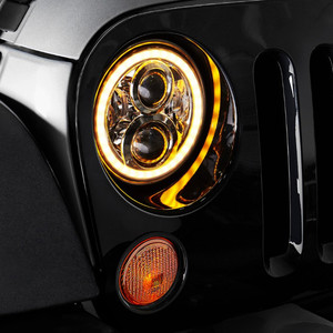 Image 5 - Pair 7 Inch Round LED Headlights High Low Beam White Halo Ring Angel Eyes DRL + Amber Turning Signal Lights for Jeep & Hummer