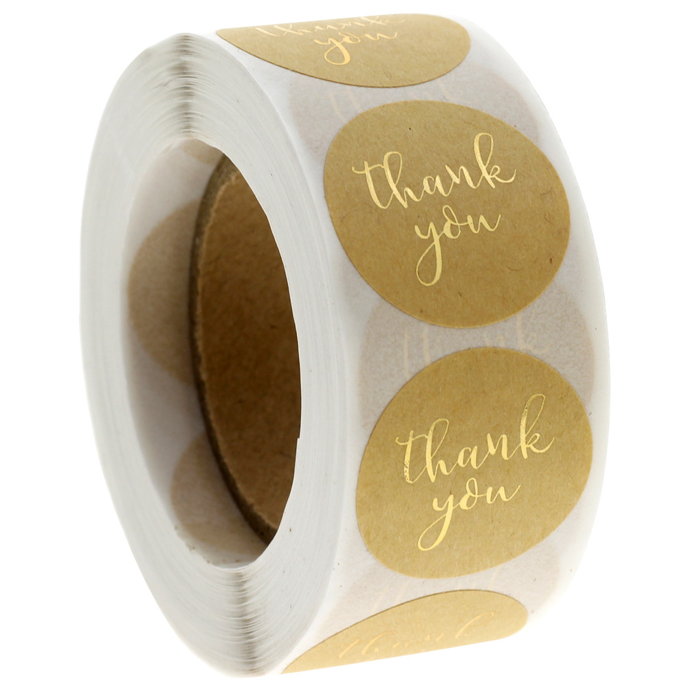 Round Gold Thank You Stickers Scrapbooking Kraft Stickers Wedding Gift Packaging Seal Label Sticker Stationery Stickers 500pcs
