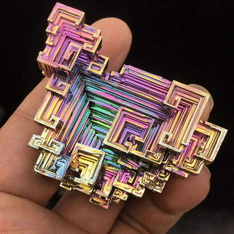 Rare Metal Stone Rainbow Healing Rough Gift Mineral Gem Specimen Home Decor Handcraft Art Natural Bismuth Ore Irregular