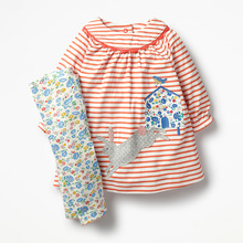 Little maven childrens sets new autumn girls Cotton brand long sleeve striped rabbit applique t shirt+flower print pants
