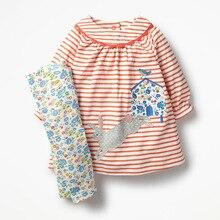 Little maven/Детские комплекты новая осенняя хлопковая брендовая футболка в полоску с длинными рукавами и аппликацией кролика для девочек + штаны с цветочным принтом