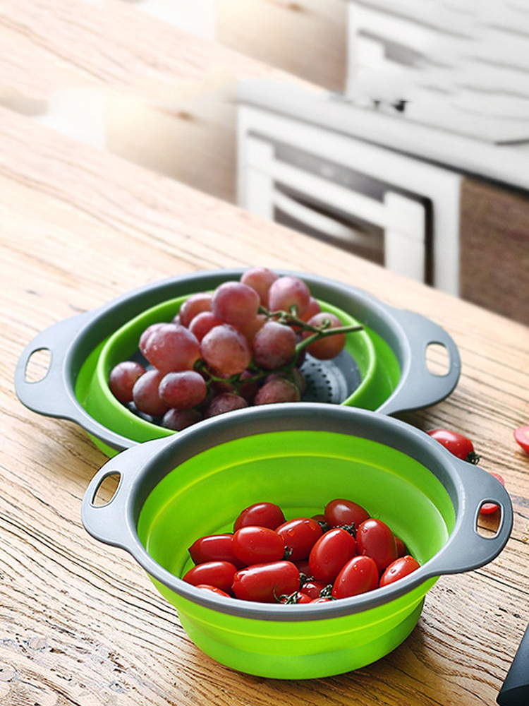 Silicone Colander Strainer Washing-Basket Kitchen-Tools Vegetable Foldable Fruit