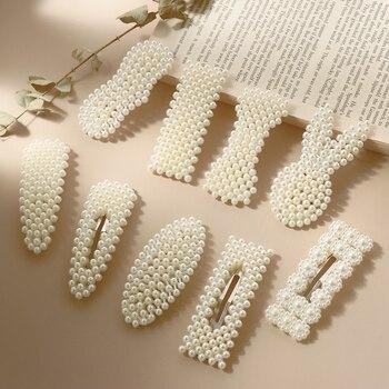 1Set Handmade Pearls Hair Clips Pin for Women Fashion Geometric Flower Barrettes Headwear Girls Sweet Hairpins Hair Accessorie 6