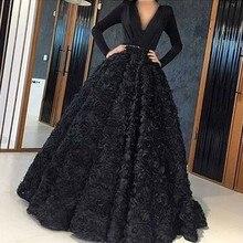 Сексуальное элегантное женское праздничное платье длинное платье плюс размер Арабский мусульманский черный длинный рукав вечернее платье для выпускного