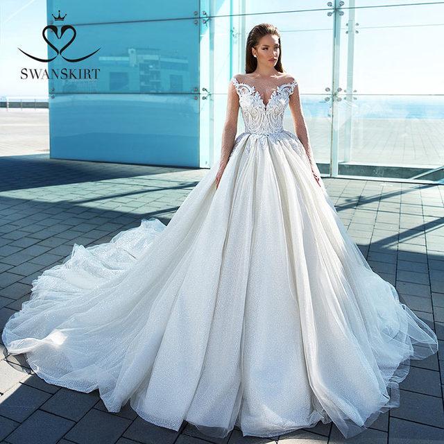 Glamorous Long Sleeve Princess Wedding Dress 2020 Swanskirt Appliques Ball Gown Sweetheart Beaded Bridal F307 Vestido de noiva