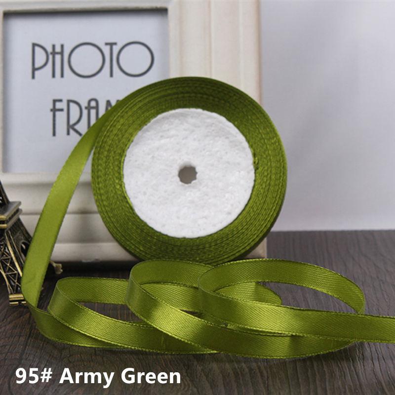 25 ярдов/рулон 6 мм 10 мм 15 мм 20 мм 25 мм 40 мм 50 мм шелковые атласные ленты для рукоделия бант ручной работы подарочная упаковка вечерние свадебные декоративные - Цвет: 95 Army Green